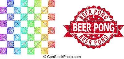 ajedrez, sello, brillante, estampilla, red, tabla, cerveza, caucho, pong