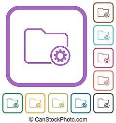 ajustes, contorno, directorio, iconos simples