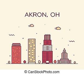 Akron skyline ohio USA moderno vector ciudad linear