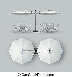 al aire libre, barra, restaurante, doble, parasol, café, patio