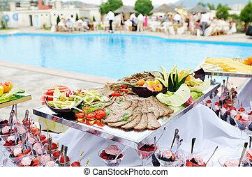 al aire libre, buffet
