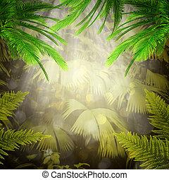Al amanecer en el bosque tropical. Abstraer los orígenes naturales