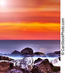 Al amanecer sobre el mar adriático, Italia.