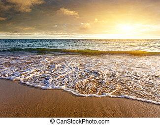 Al atardecer en la costa