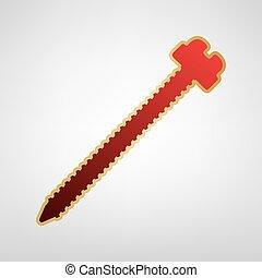 Al diablo con la ilustración de signos. Vector. Un icono rojo con pegatina de oro en un fondo gris claro.