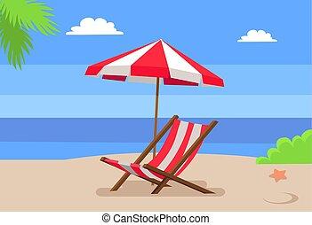 Al lado del mar y de la hamaca bajo la palmera del paraguas