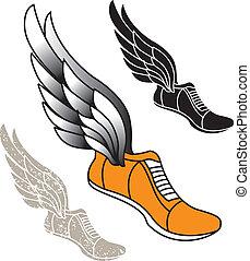 alado, pista, zapato