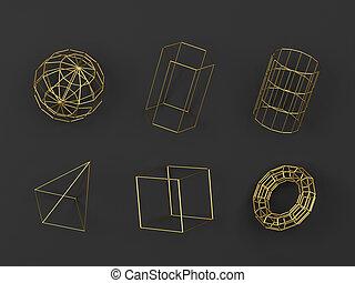 alambró, resumen, geométrico, conjunto, primitives