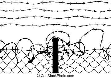 Alambrada con alambres de púas