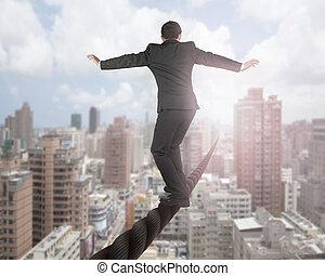 alambre, nubes, cielo, el balancear, cityscape, hombre de negocios