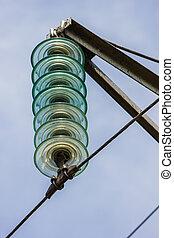 alambres, potencia, transmisión, líneas, alto voltaje
