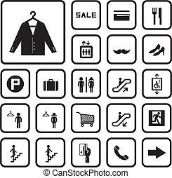 alameda, conjunto, compras, iconos