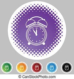 alarma, conjunto, reloj, icono, halftone