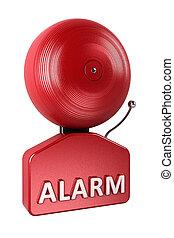 alarma, encima, blanco, campana