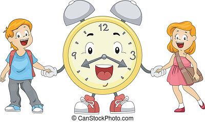 alarma, niños, reloj