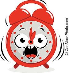 alarma, vector, clock., resonante, ilustración
