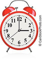 alarma, -, vector, rojo, reloj