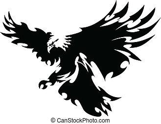alas, águila, mascota, diseño, vuelo