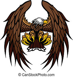Alas de águila y garras vector de mascota