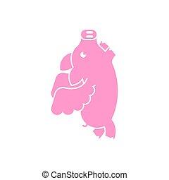 alas, vuelo, cerdo, vector, ilustración, isolated., cerdito