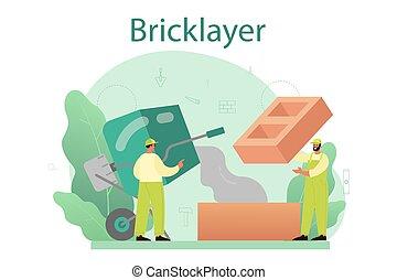 albañil, constructor, construir, ladrillo, profesional, pared, concept.