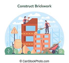 albañil, construir, constructor, concept., profesional, pared ladrillo