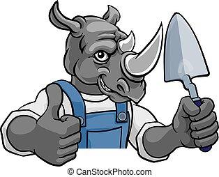 albañil, herramienta, paleta, tenencia, rinoceronte, constructor