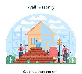 albañil, pared ladrillo, construir, concept., constructor, profesional