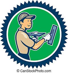 albañilería, escarapela, trabajador, yesero, caricatura