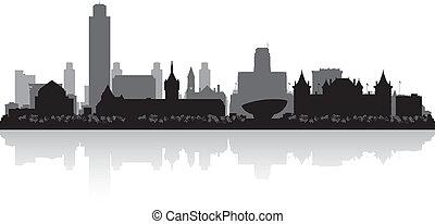 Albany New York City Skyline Silhouette