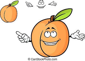 albaricoque, fruta, caricatura, jugoso