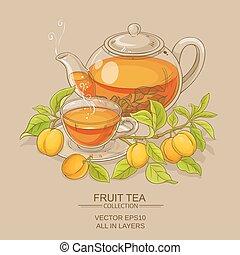 albaricoque, ilustración, té