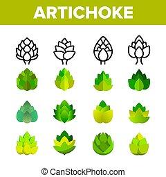 Alcachofas, vector de cocina gourmet iconos lineales establecidos