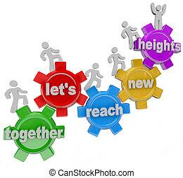 alcance, juntos, alturas, dejarnos, engranajes, equipo, nuevo
