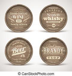 alcohol, bebidas, barriles, de madera