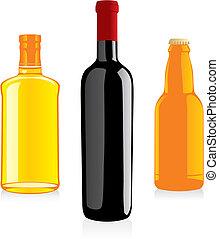 alcohol, botellas, aislado