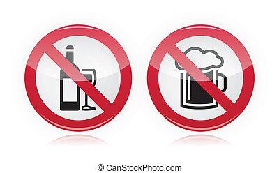 alcohol, no, -, señal, problema, bebida
