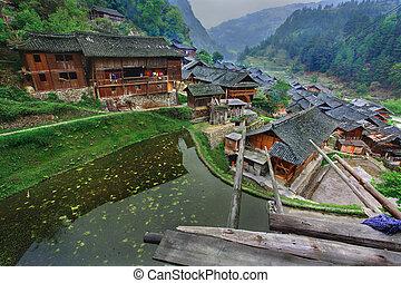 aldea, montaña, area., oeste, étnico, asia, china, este, sur