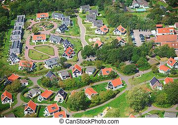 aldea, sobre, vista