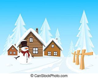 aldea, vector, paisaje de invierno, pintoresco
