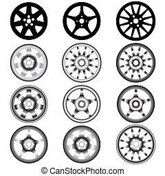 aleación, automotor, rueda, ruedas