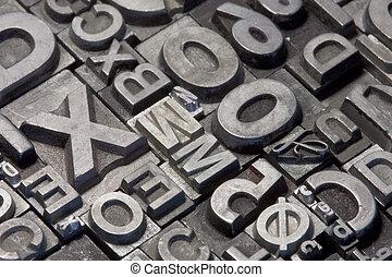 aleatorio, cartas, plomo, texto impreso, arreglo