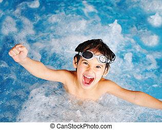 alegría, niños, felicidad, piscina