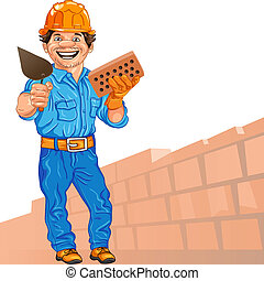 Alegre albañil en el casco naranja con ladrillo y una paleta en mano, contra un fondo de pared de ladrillo
