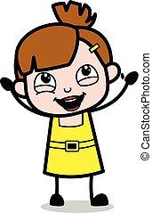 Alegre, chica linda dibujo animado ilustración vectorial del personaje