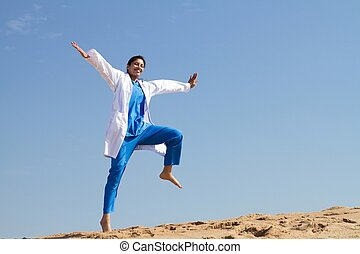 alegre, enfermera, saltar, playa