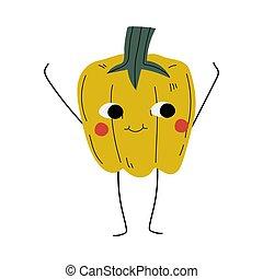 alegre, lindo, cara divertida, pimienta, vegetal, sonriente, carácter, ilustración, vector