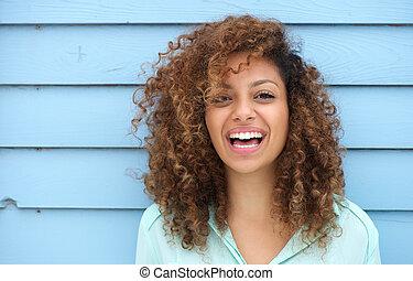 alegre, mujer sonriente, joven, africano