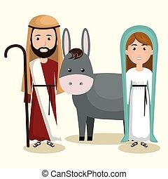 alegre, navidad feliz, pesebre, carácter