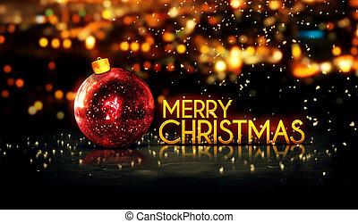 alegre, oro, bokeh, navidad, rojo